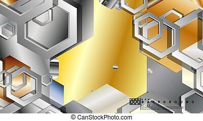 fond, illustration, résumé, géométrique, vecteur, hexagone, métal, couleur, composition.