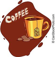 fond, illustration, vecteur, café, blanc