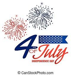 fond, image, feux artifice, vecteur, quatrième, juillet, jour, indépendance