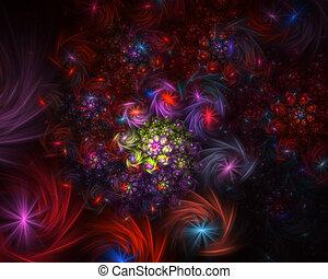 fond, incandescent, spirale, résumé, fractal, sparkles.