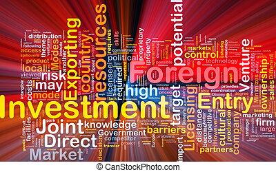 fond, investissement étranger, incandescent, concept