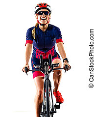 fond, ironman, isolé, athlète, triathlete, cycliste, blanc, femme, triathlon, cyclisme