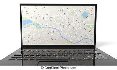 fond, isolé, carte, ordinateur portable, blanc