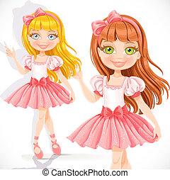fond, isolé, girl, ballerine, peu, robe, blanc, rose, mignon