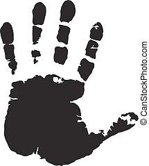 fond, isolé, main, humain, impression, blanc