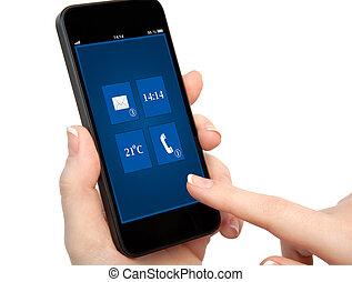 fond, isolé, main, téléphone, femme, tenue, interface