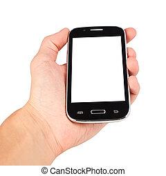 fond, isolé, main, téléphone, tenue, blanc, intelligent