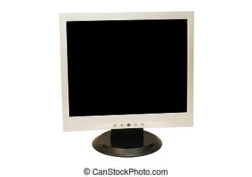 fond, isolé, moniteur ordinateur, blanc