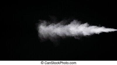 fond, isolé, piste, fumée noire, blanc