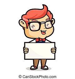 fond, isolé, signe, geek, tenue, vide, nerd