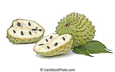 fond, isolé, soursop, sections, blanc