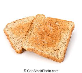 fond, isolé, toast, croustillant, couper, pain, blanc
