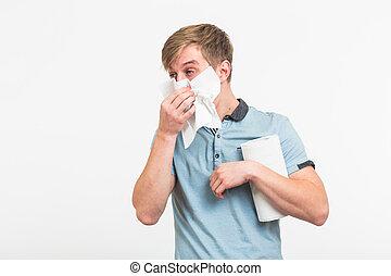 fond, jeune, isolé, handkerchief., nez, malade, blanc, a, type, liquide, homme