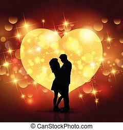 fond, jour, coeur, silhouette, aimer couple, valentine, conception
