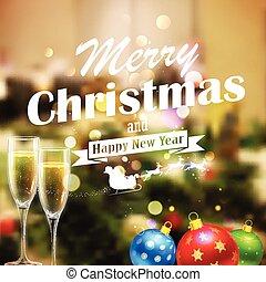 fond, joyeux, année, nouveau, noël, heureux