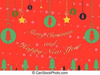 fond, &, joyeux, année, nouveau, noël, heureux
