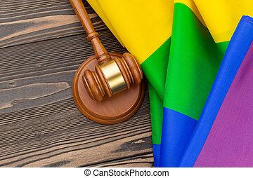 fond, juge, droit & loi, bois, arc-en-ciel, maillet, woden, symbole, justice, lgbt, drapeau, couleurs