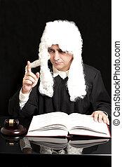 fond, juge, livre, noir, avocat, marteau, portrait, mâle