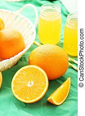 fond, jus orange, vert, bouteille, panier