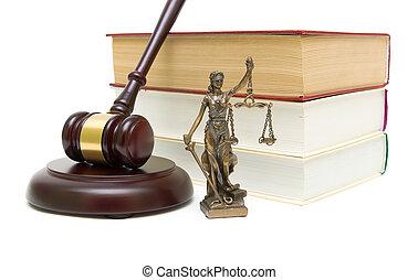 fond, justice, isolé, livres, statue, marteau, blanc