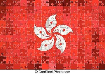 fond, kong, puzzle, fait, hong, drapeau
