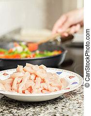 fond, légumes, cuisine, cru, closeup, femme, plat, noir, poulet, moule