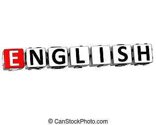 fond, langue, mots croisés, anglaise, 3d, blanc