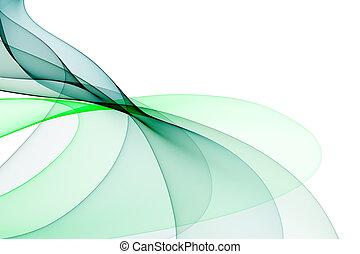 fond, lisse vert, tonalités, vagues, blanc