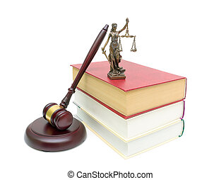 fond, livres, isolé, justice, statue, marteau, blanc