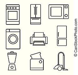 fond, ménage, signe, noir, appareils, blanc, set., icône
