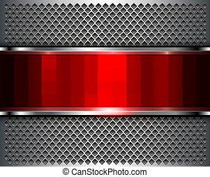 fond, métallique, résumé, rouges