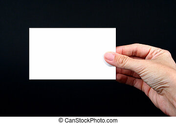 fond, main, noir, tenue, vide, blanc, carte