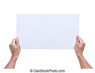 fond, mains, isolé, papier, tenue, vide, blanc
