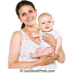 fond, maman, bébé, portrait, blanc, heureux