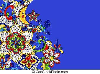 fond, mexicain, design.