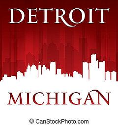 fond, michigan, horizon, ville, rouges, détroit, silhouette