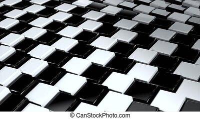 fond, minimal, noir, loop:, surfaces, lumière, résumé, blanc, cour, modèle, mouvement, ondulé, géométrique, clair, carrée