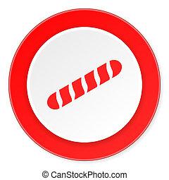 fond, moderne, baguette, icône, cercle, conception, plat, rouges, 3d, blanc