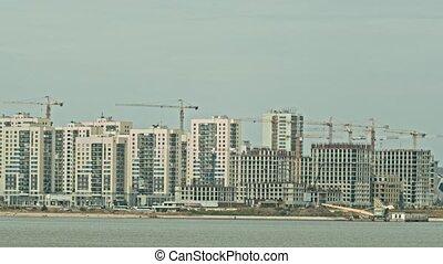 fond, moderne, concept, construction, bâtiment, gratte-ciel, -, industriel