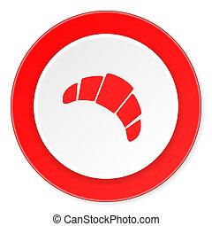 fond, moderne, icône, cercle, conception, plat, rouges, croissant, 3d, blanc