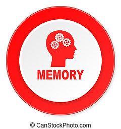 fond, moderne, icône, cercle, mémoire, conception, plat, rouges, 3d, blanc