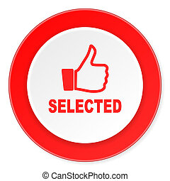 fond, moderne, sélectionné, icône, cercle, conception, plat, rouges, 3d, blanc