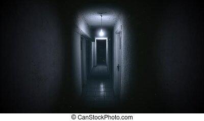 fond, mystique, sombre, salle, horreur, salle