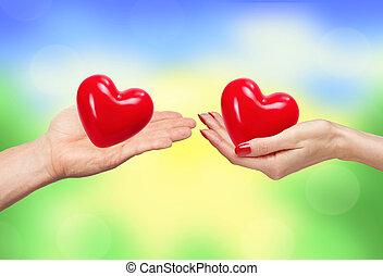 fond,  nature,  couple, clair, tenue, mains, cœurs, sur, aimer