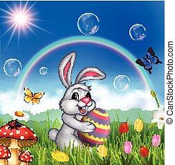 fond, nature, lapin pâques, tenue, oeuf, dessin animé