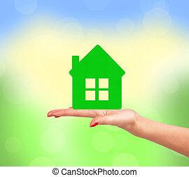fond,  nature, maison, sur, main, clair, femme, petit, modèle