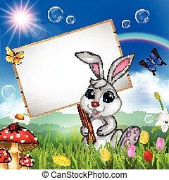 fond, nature, signe, lapin, vide, dessin animé, tenue