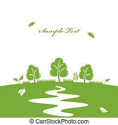 fond, nature, vert