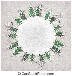 fond, neige-couvert, noël arbres
