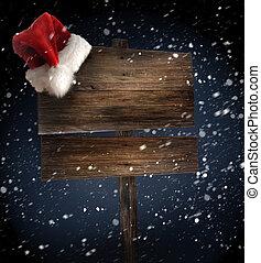 fond, neigeux, bois, signe, santa chapeau